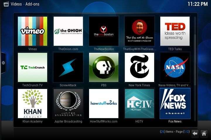 Some of my favorite Internet Channels with XBMC Plugins