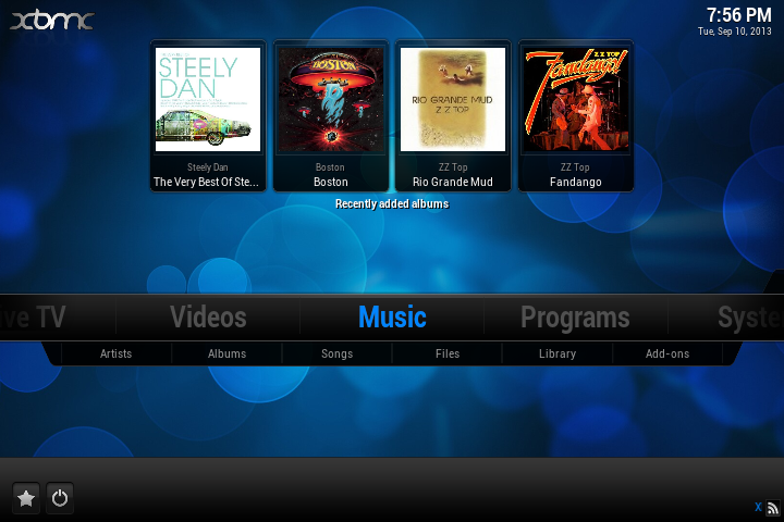 The XBMC Music Player on the Main Menu