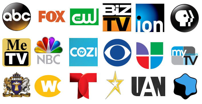Logo images for major HDTV broadcast networks in America